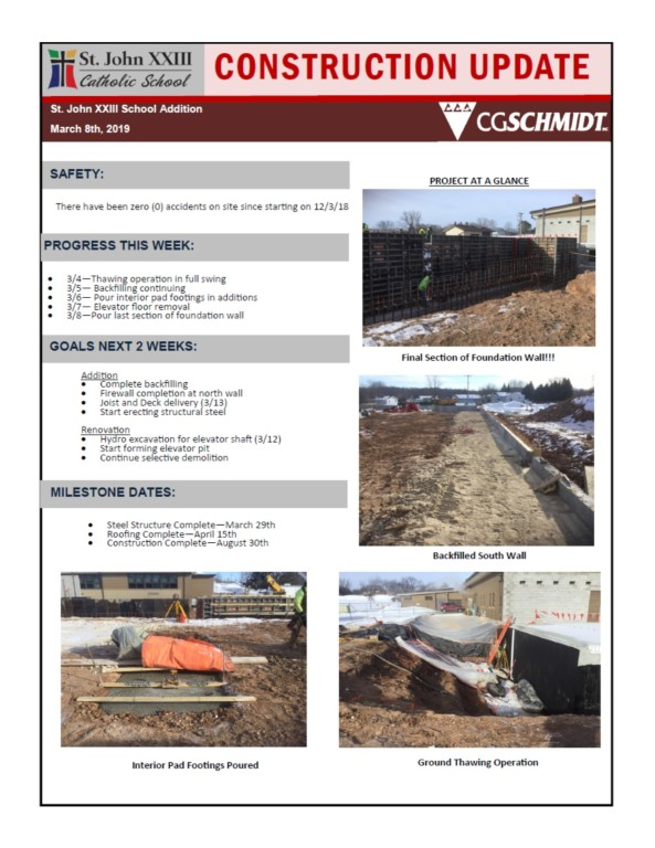 March 8, 2019 construction report