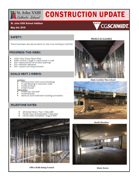 May 3, 2019 Construction Report