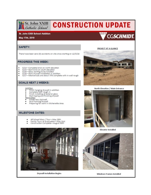 May 17, 2019 construction report