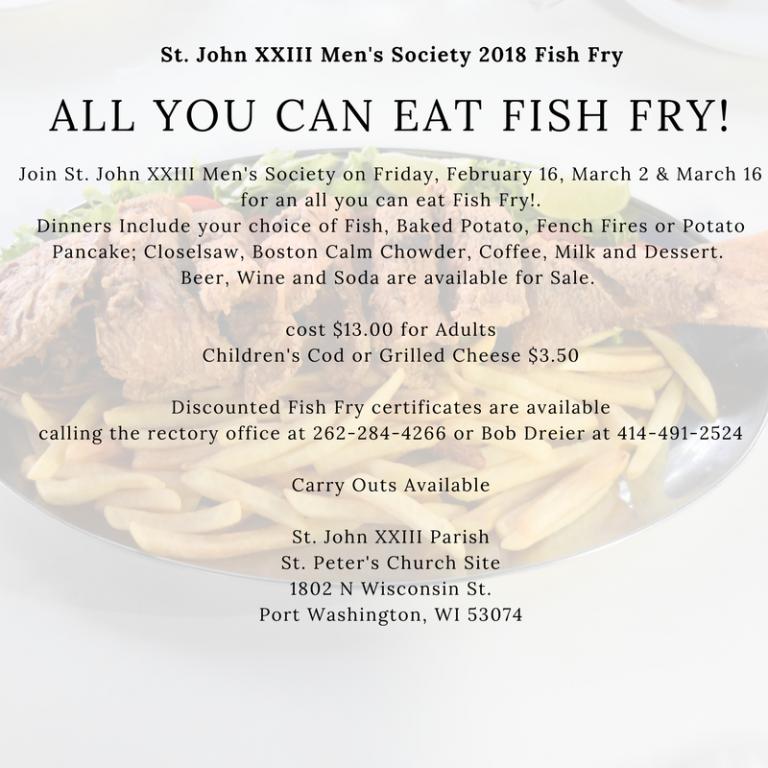 St. John XXIII Men's Society Fish Fry, Men's Club Fish Fry 2018