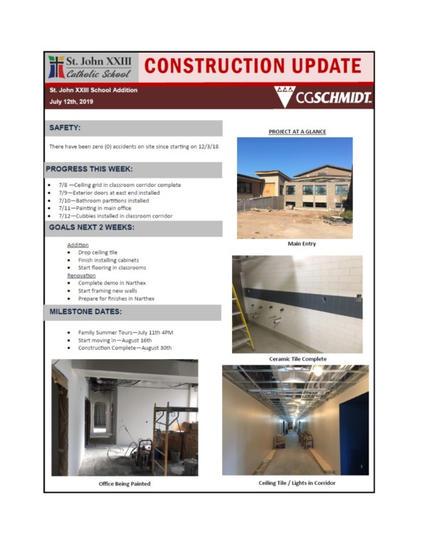 July 12, 2019 construction report