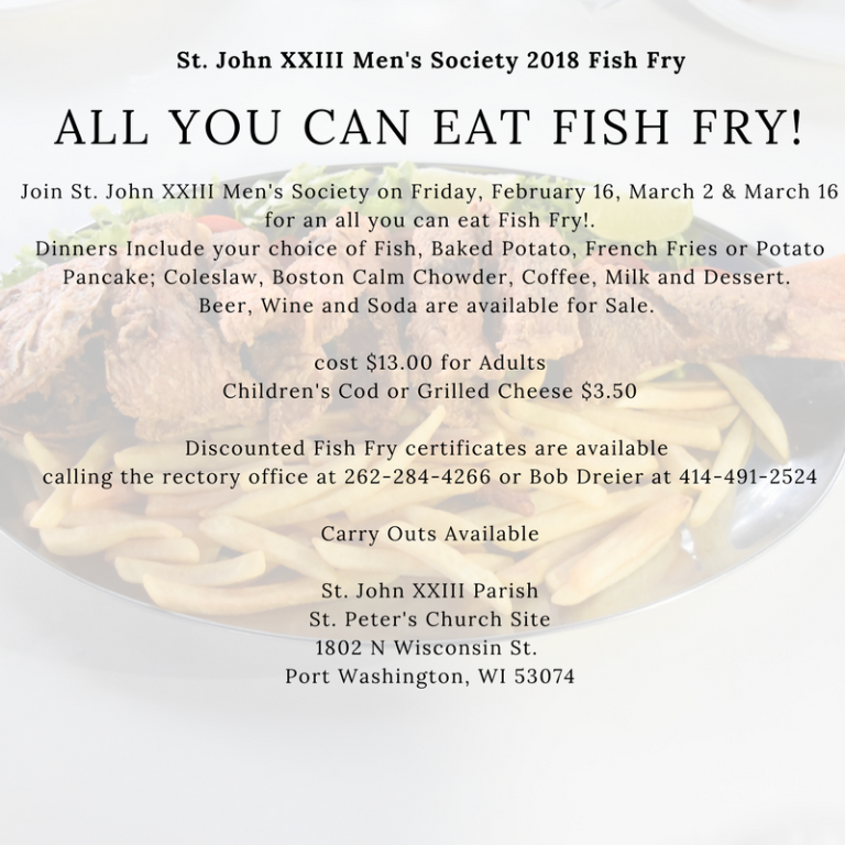 2018 st john xxiii men 39 s society fish fry st john for All you can eat fish fry milwaukee
