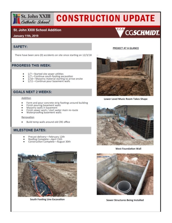 Construction Report 1-11-2019