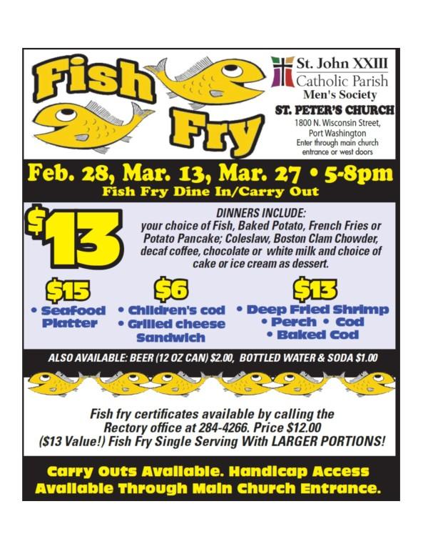 St. John XXIII Men's Society Fish Fry