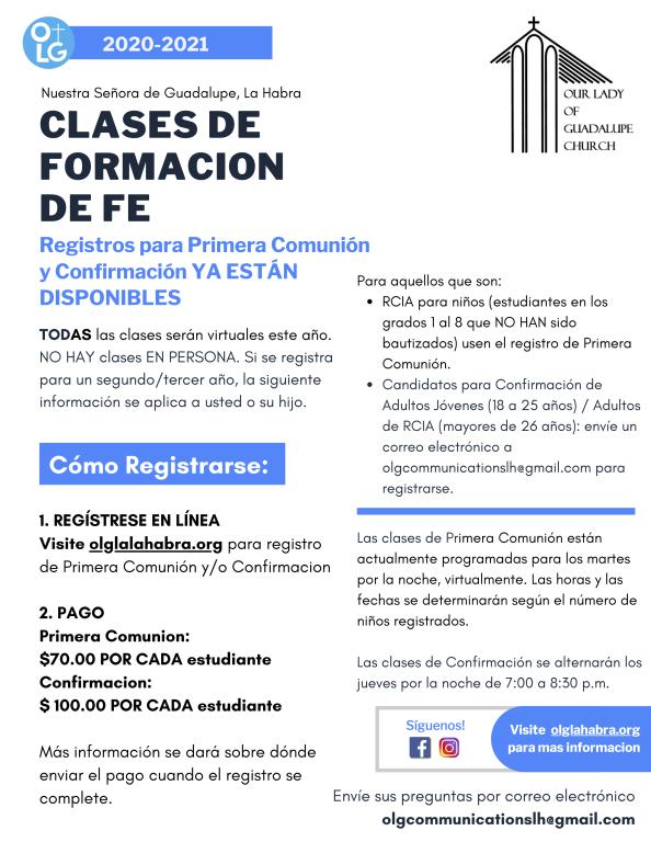 Información de clases de Formación de Fe