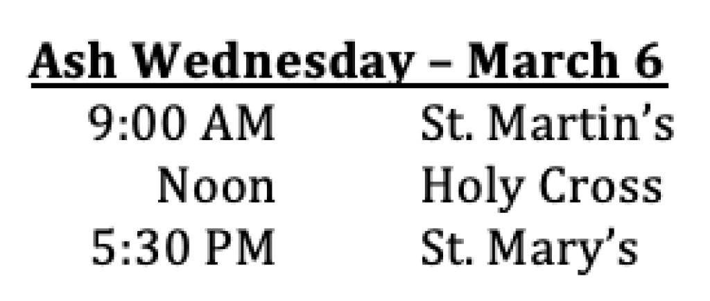 Ash Wednesday Mass Schedule
