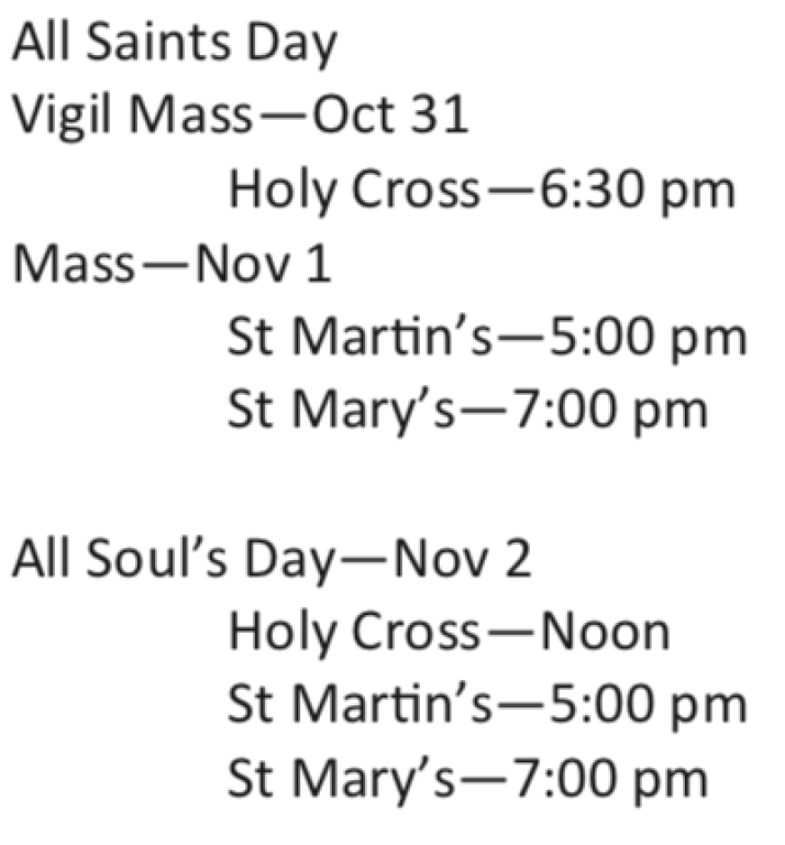 All Saints Day Schedule 2018
