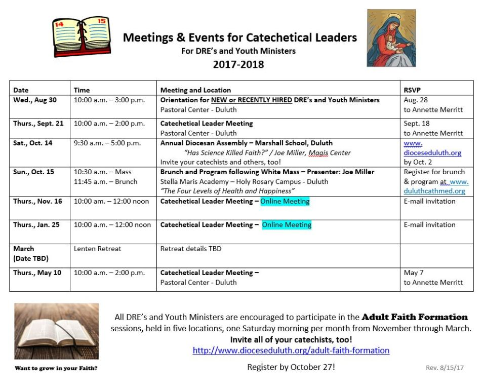 Catechetical Leaders Meeting Schedule 2017-18
