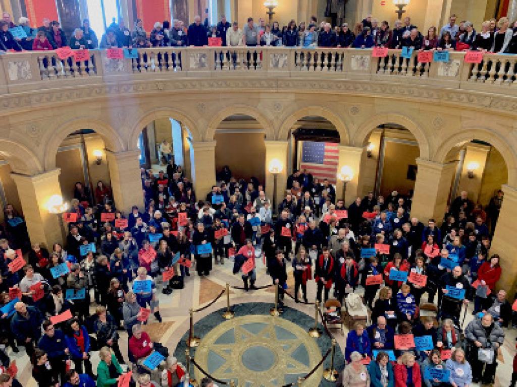 Catholics at the Capitol crowd at the rotunda