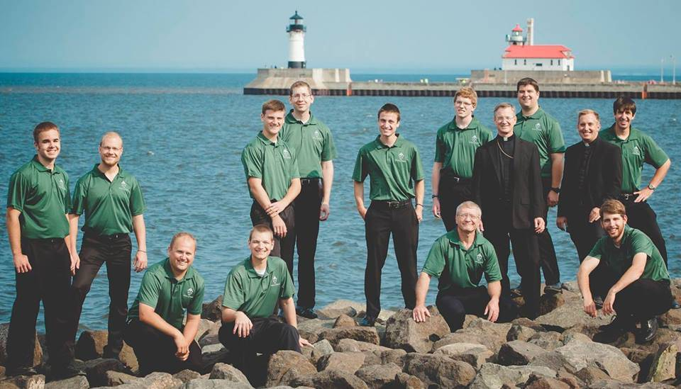 Seminarians by lake