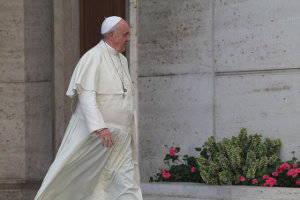 Pope Francis leaves synod hall
