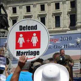 National Organization for Marriage rally against same-sex marriage July 28, 2010, in St. Paul.