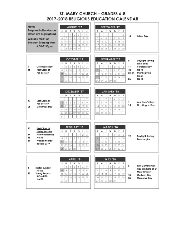 2016 RE Grade 6-8 Calendar