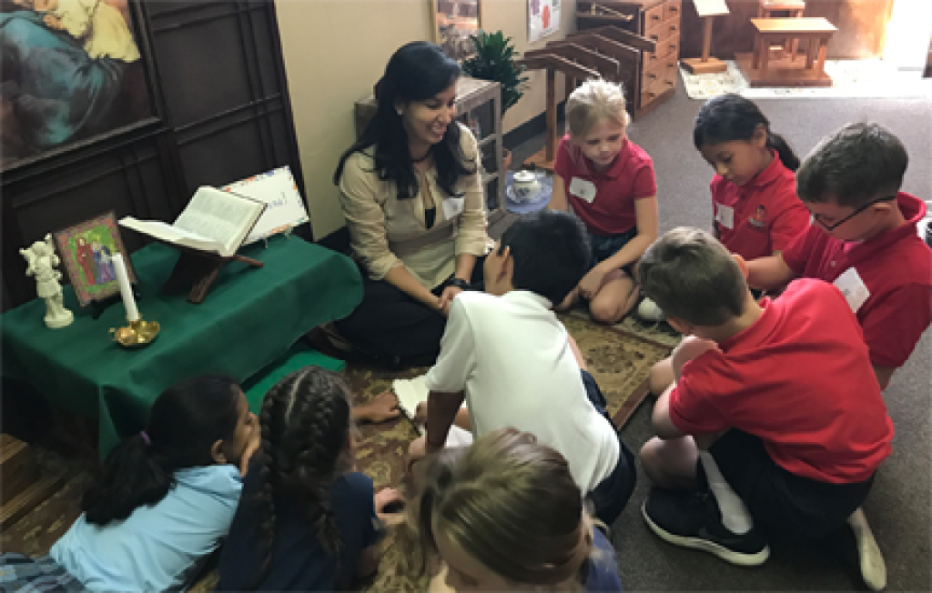 Catechist with children