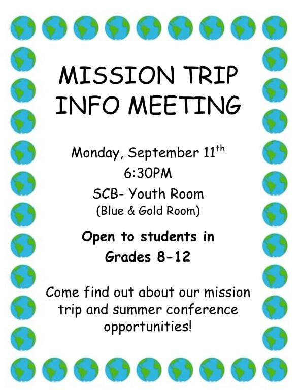 mission trip info mtg flyer