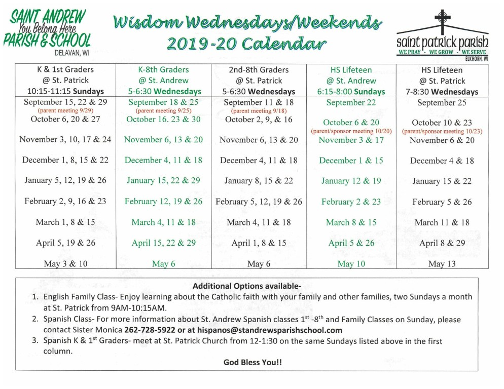 2019-20 Wisdom Wednesdays/Weekends Registration | Saint