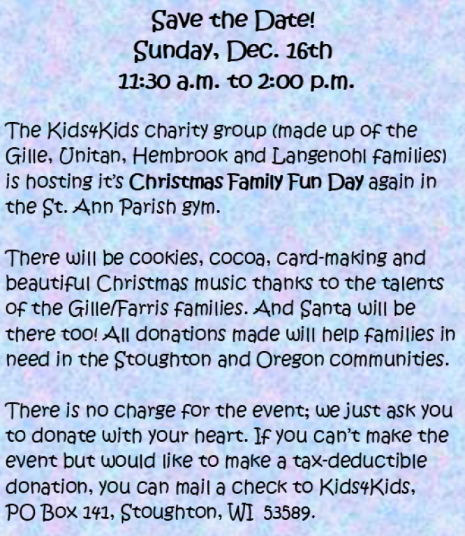 Kids 4 Kids Christmas Family Fun Day