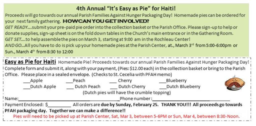 4th Annual Pie Making Event for Haiti
