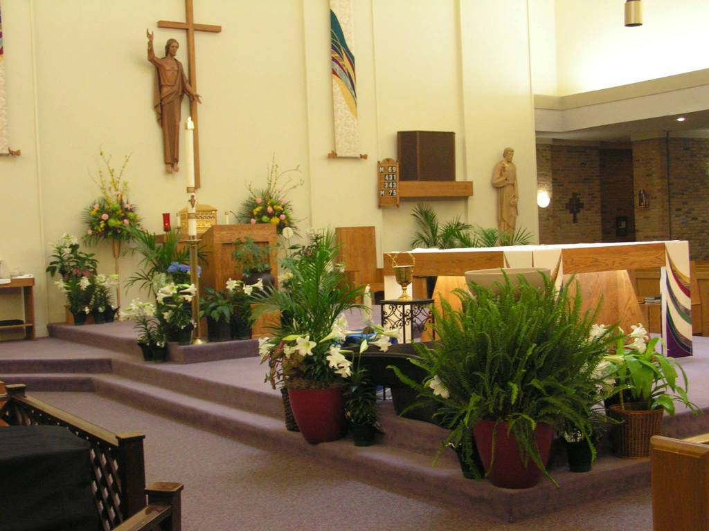 Image of Sanctuary decorated with Easter flowers
