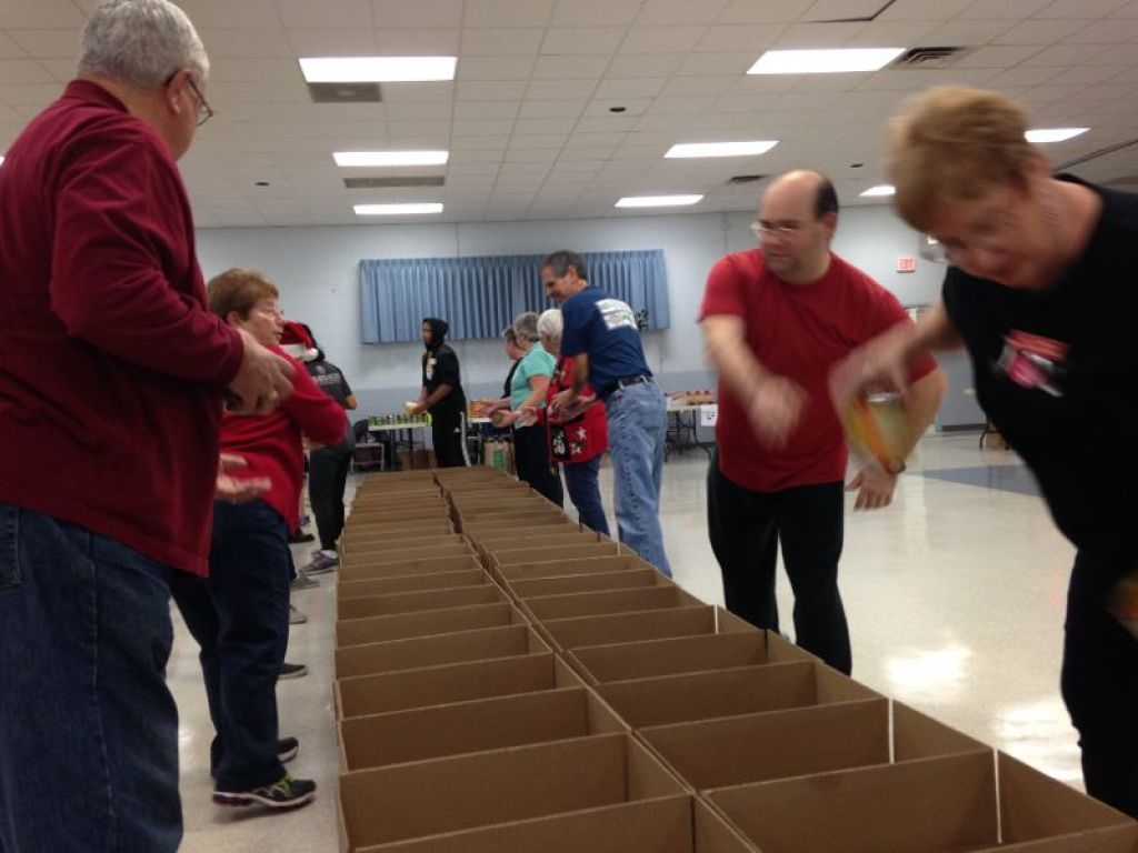 Volunteers fill the baskets