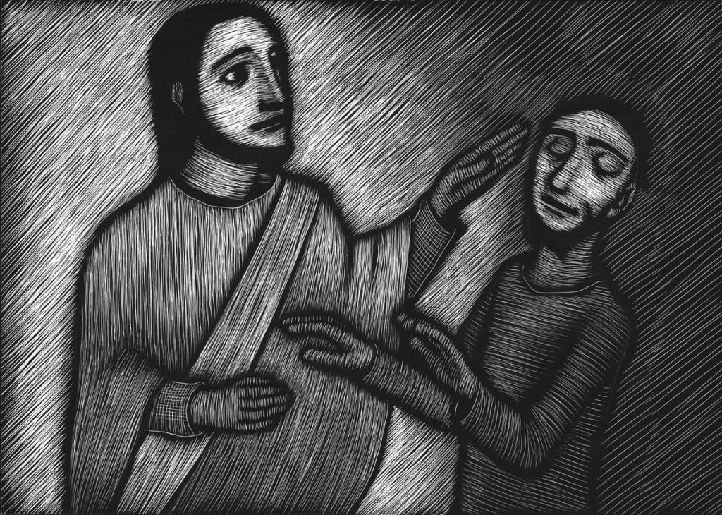 Scratch art of Jesus healing Bartimaeus
