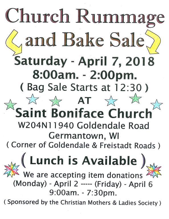 Christian Women Rummage and Bake Sale | St Boniface Catholic Parish