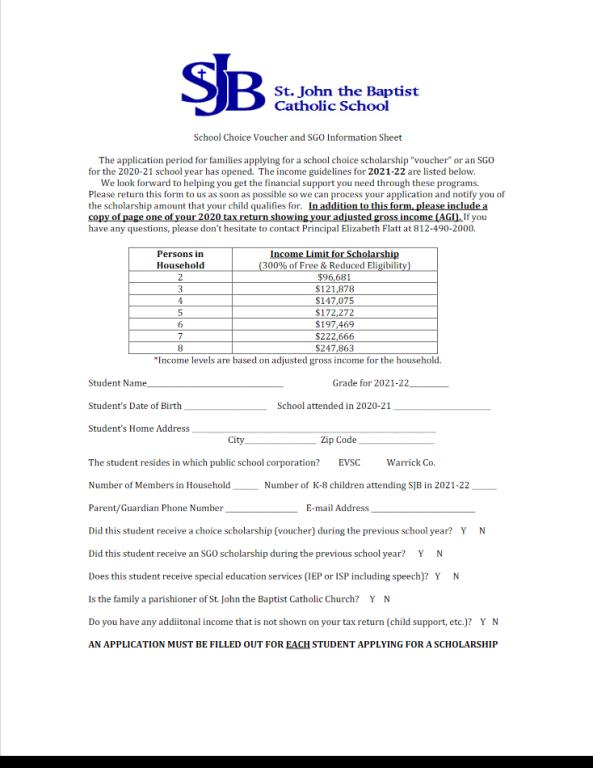 School Choice Scholarship 2021-22