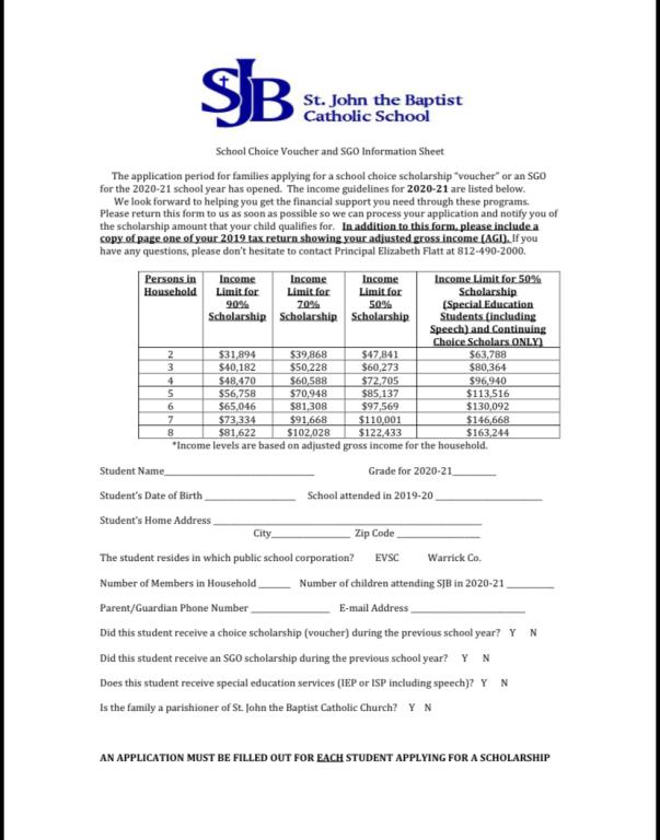School Choice Scholarship 2020-21