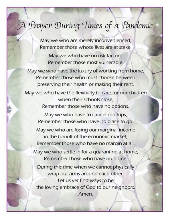 A Prayer During Times of Pandemic