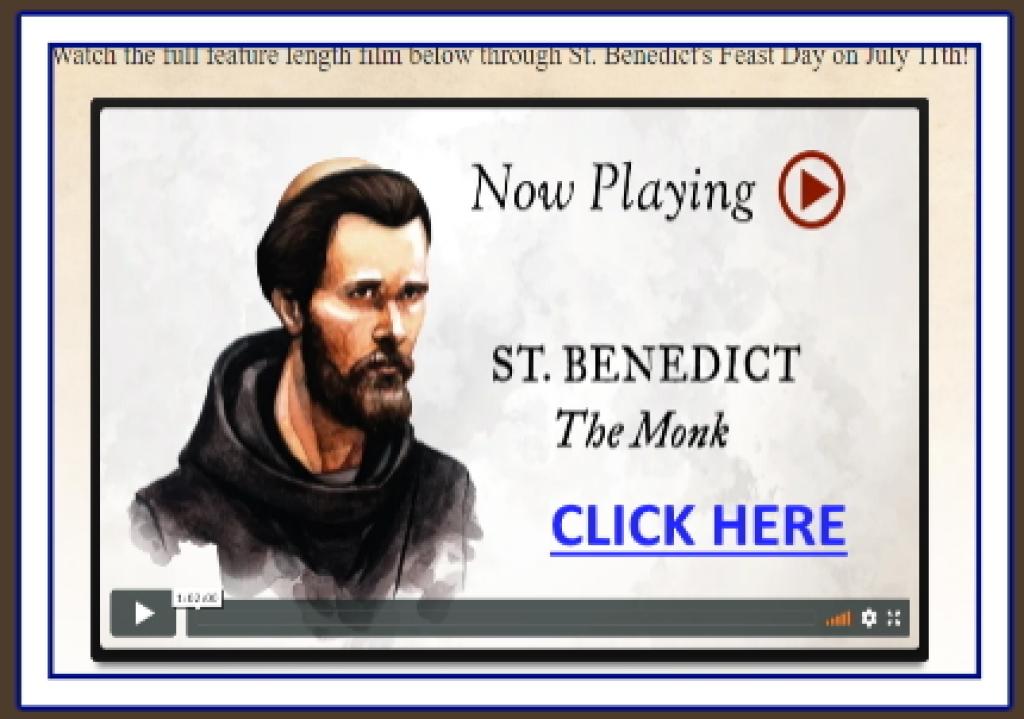 Flyer for Bishop Barron's St. Benedict Video
