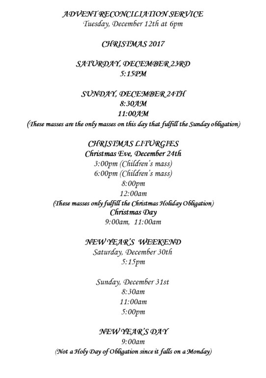 2017 Holiday Mass Schedule