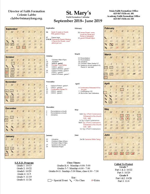 Faith Formation 2018-2019 calendar