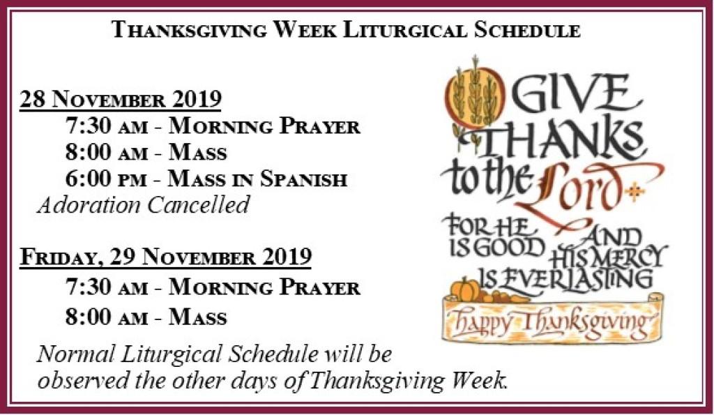 Thanksgiving Week Schedule