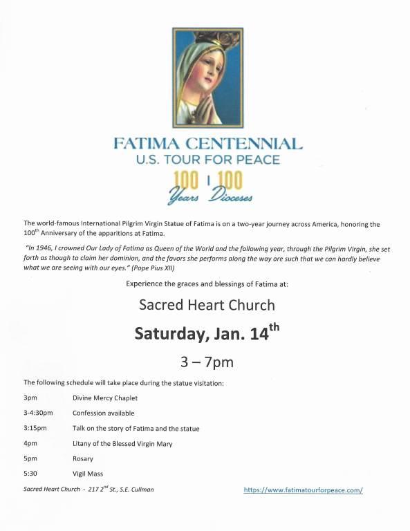 Fatima Centennial Schedule