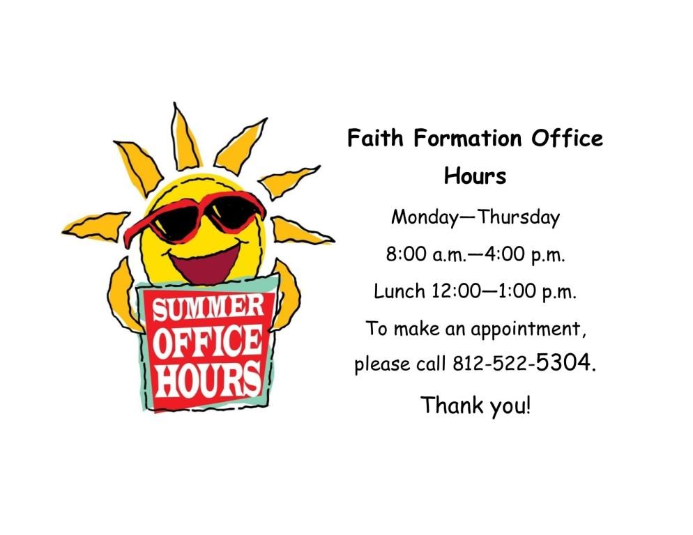 Faith Formation Summer Office Hours