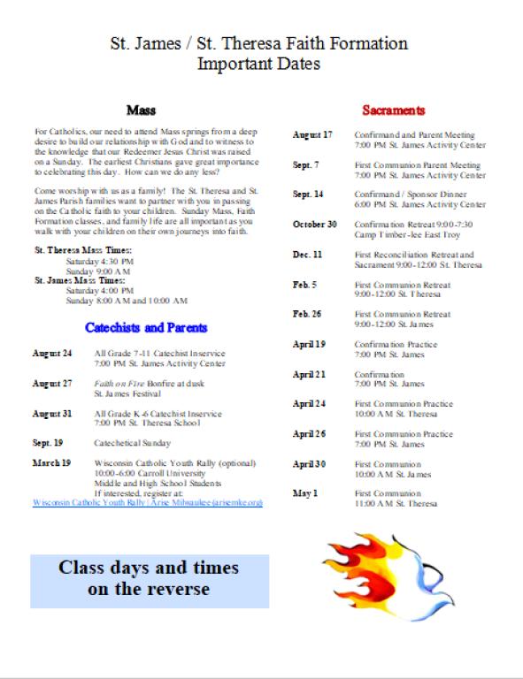 2021-2022 FF Class Dates image