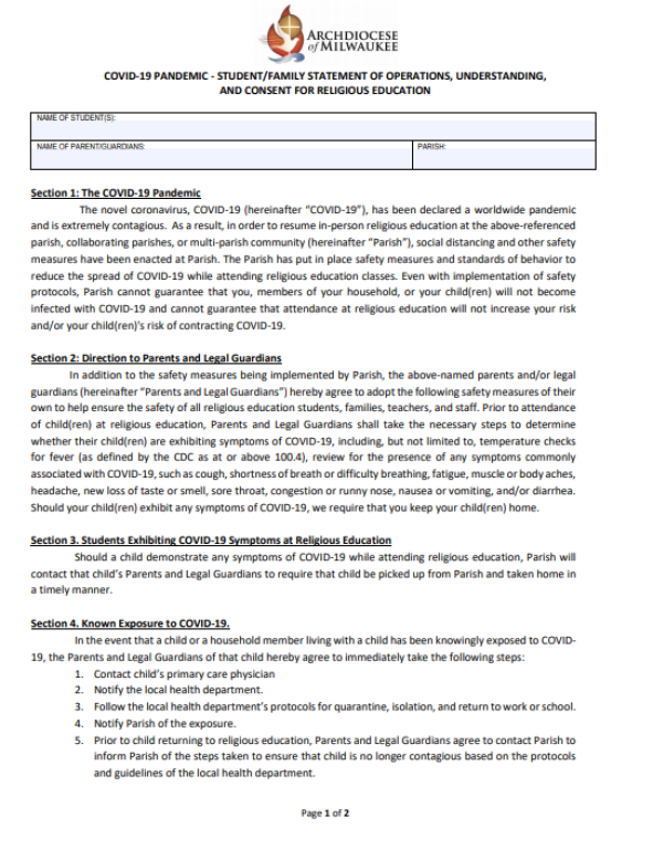 COVID-19 Consent Form