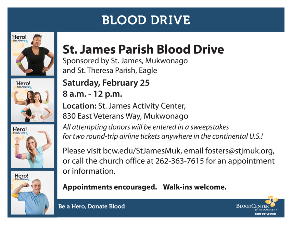 Blood Drive Feb 25 8am-Noon
