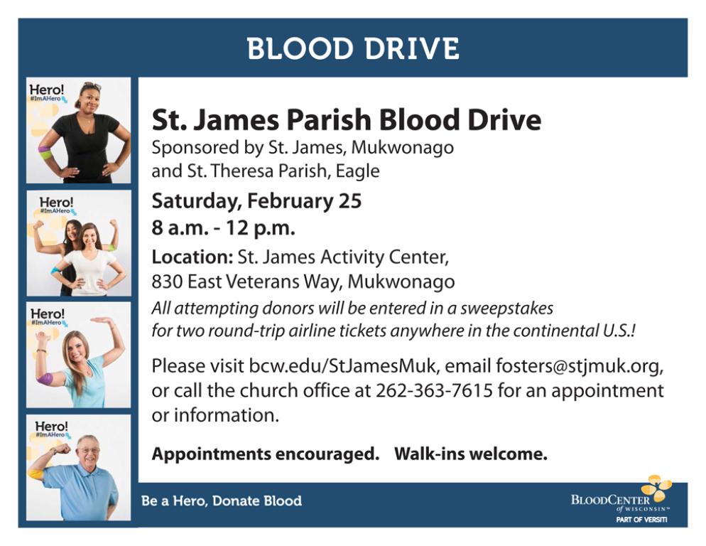 Blood Drive Feb 25 8am-Noon