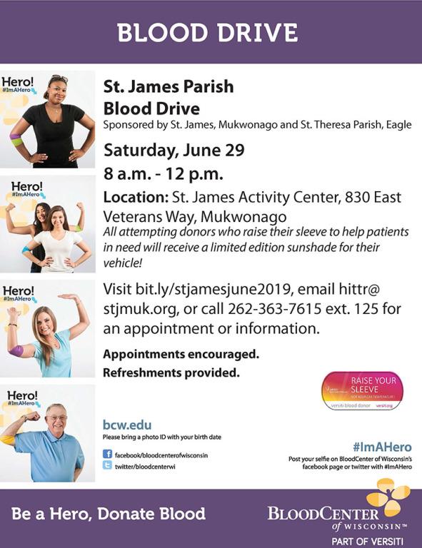 St James Blood Drive June 29 8am-Noon
