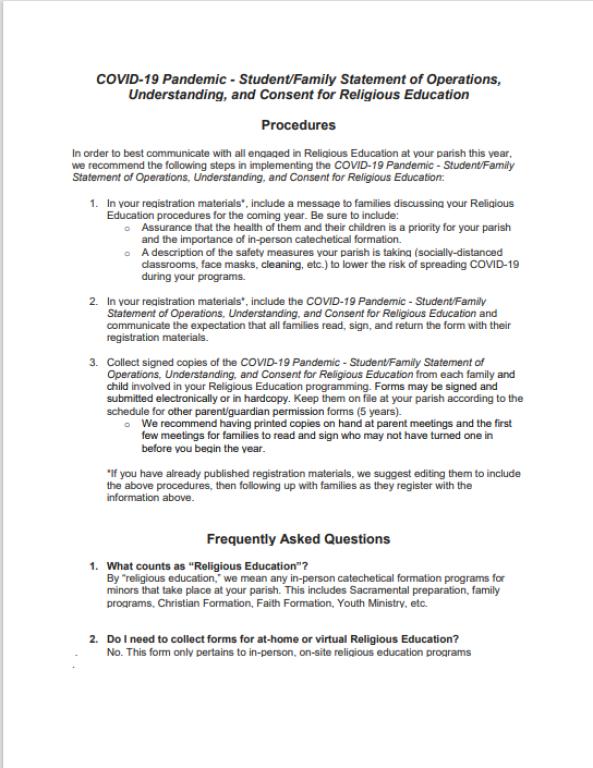 COVID-19 Form FAQ