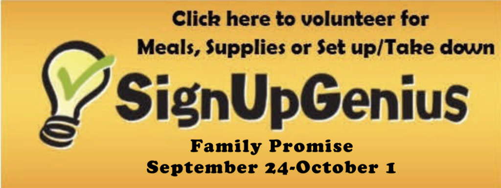 Family Promise Sept 24-Oct 1 Meals