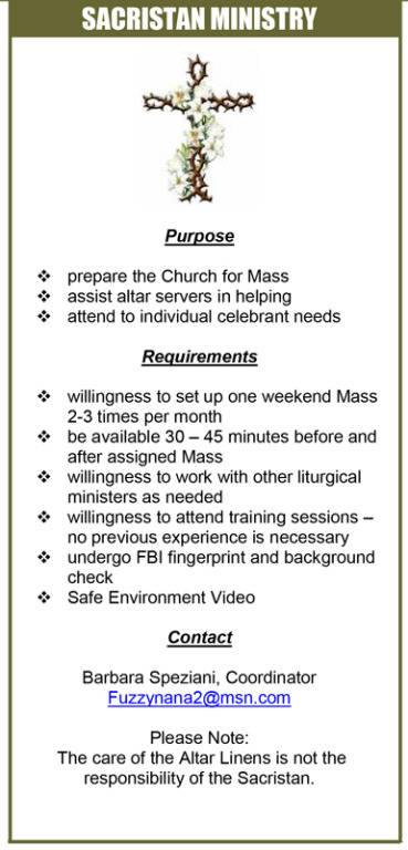 Sacristan Ministry; Purpose, Requirements, and Contact Information