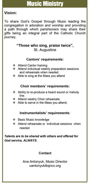 Music Ministry; Requirements; Contact Information