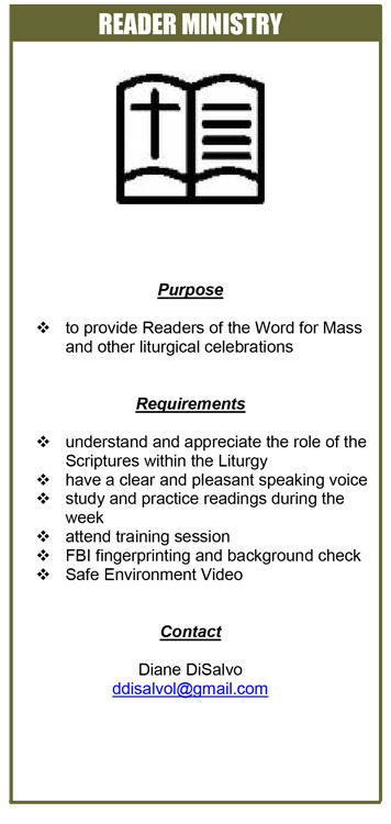 Readers Ministry; Purpose, Requirements, and Contact Information