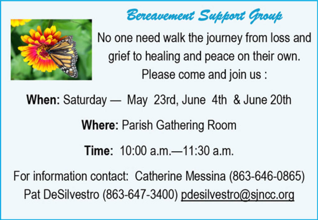 Bereavement Support Group. No one need walk the journey from loss and grief to healing and peace on their own. Please come and join us. When: Saturday-May 23rd, June 4th and June 20th. Where: Parish Gathering Room. Time: 10:00 a.m.-11:30 a.m. For information contact: Catherine Messina (863-646-0865) Pat DeSilvestro (863-647-3400) pdesilvestro@sjncc.org