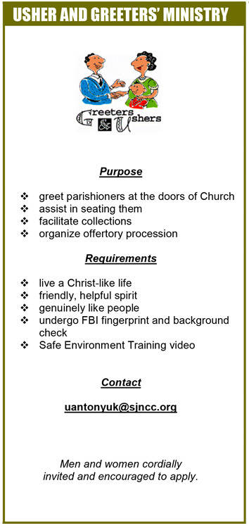 Ushers and Greeters Ministry; Purpose, Requirements, and Contact Information