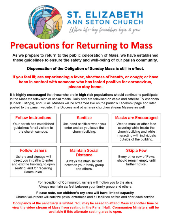 precautions for returning to mass