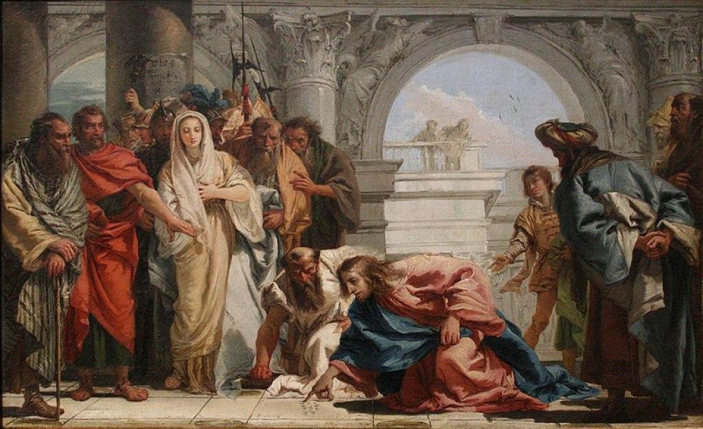 Giovanni Domenico Tiepolo: French: Le Christ et la femme adultère.