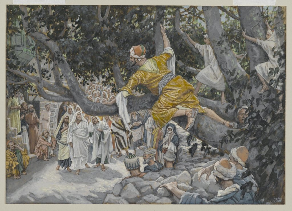 James Tissot (French, 1836-1902). Zacchaeus in the Sycamore Awaiting the Passage of Jesus (Zachée sur le sycomore attendant le passage de Jésus), 1886-1896. Opaque watercolor over graphite on gray wove paper, Image 7 18 x 9 1516 in. (18.1 x 25.2 cm). Brooklyn Museum, Purchased by public subscription, 00.159.189 (Photo Brooklyn Museum, 00.159.189_PS2.jpg) DOWNLOAD Zacchaeus in the Sycamore Awaiting the Passage of Jesus